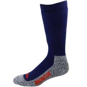 Broncos Ladies Navy Blue Gray Wool Trekker Socks