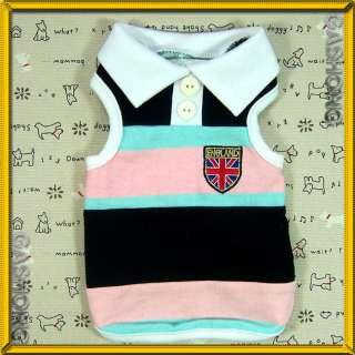 Dog Clothes A219,Union Jack Vest Polo Tank Top Shirts
