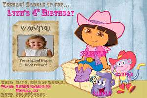 Dora Cowgirl Custom Birthday Party Invitations