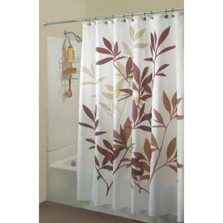 InterDesign # 35640 Leaves Fabric Shower Bath Curtain   Brown