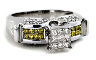 LADIES .90CT PRINCESS CANARY DIAMOND RING ENGAGEMENT
