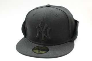 New York Yankees All Black Fleece Flip Down Winter New Era Fitted Cap