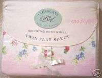 Rachel Ashwell Sheet CHELSEA Pink Roses Flat Twin Sheet Brushed Twill