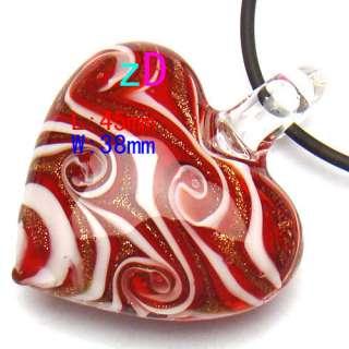 Love Top Murano Lampwork Glass Pendant Chain Necklace Fashion 6 Color