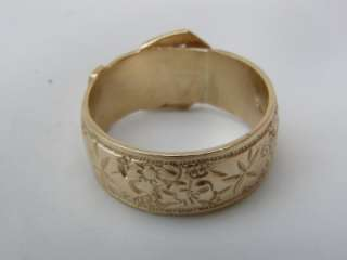 Big HEAVY 9ct Gold BUCKLE Ring VICTORIAN Style Belt GARTER Ring