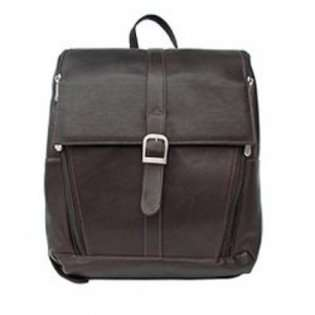 Piel Leather Slim Laptop Computer Backpack   Chocolate   Chocolate