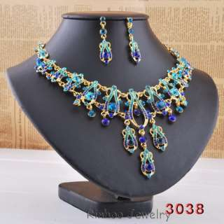 Free E28933 gold plated womens costume blue Necklace Earring 1set
