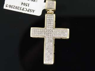 MEN LADIES YELLOW GOLD DIAMOND MINI CROSS CHARM PENDANT