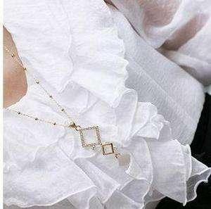 jewelry gold tone Rhombus Rhinestone Long Pendant Chain Necklace