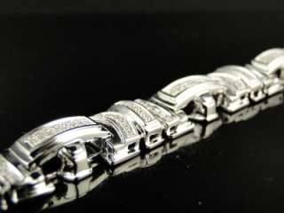 NEW MENS WHITE GOLD FINISH PAVE ROUND CUT 13 MM DIAMOND BRACELET 1.50
