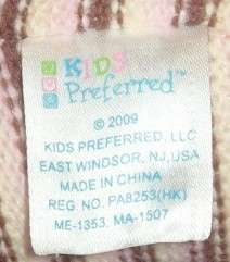 KIDS PREFERRED Pink Brown Stripe CHLOE Doll BEAR Sweater Knit Baby TOY