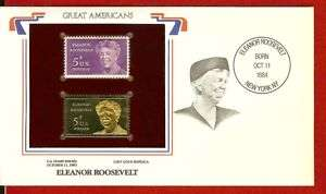 Great American Eleanor Roosevelt 22K Gold Stamp