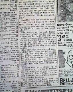 KY Kentucky Rex Scott Negro Lynching Hanging from jail 1934 Newspaper