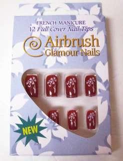 Airbrush Glamour RED finger nails w/ White Art Design