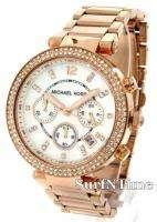 New Michael Kors Rose Gold Steel Bracelet Crystal Chronograph MOP