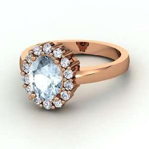 Penelope Ring, Oval Aquamarine 14K Rose Gold Ring with