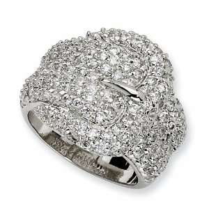 Sterling Silver Cubic Zirconia Buckle Ring (Size 8