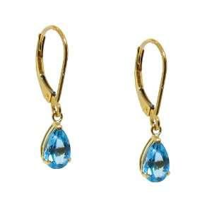 10k Yellow Gold Pear cut Blue Topaz Leverback Dangle Earrings Jewelry