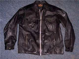 Harley Davidson Leather Shirt Jacket Distressed Vintage Engine Large