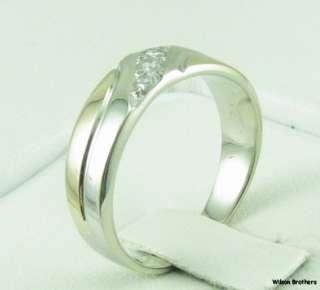 Genuine Diamonds Mens Wedding Band Ring   14k Solid W & Y Gold A+