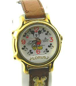 LORUS MUSICAL MICKEY MOUSE WATCH / GOLD TONE /NEW BATT/M2113