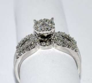 DIAMOND WEDDING SET BRIDAL ROUND TOP WHITE GOLD .77CT 2PC ENGAGEMENT