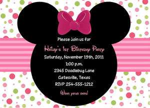 24 Minnie Mouse Birthday Invitations