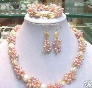 fashion White Coin Pink Freshwater Pearl Necklace Set