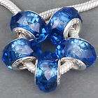 Blue Faceted Crystal Glass Beads Fit European Charm Bracelet ★G158