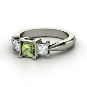 Ariel Ring, Princess Green Tourmaline 14K White Gold Ring