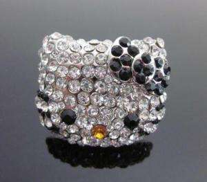 XL hello kitty black bow rinestone ring adjustable R14