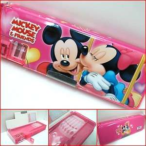 Disney Mickey Minnie Mouse Pencil Case Box 2 Sides w Sharpener Pink