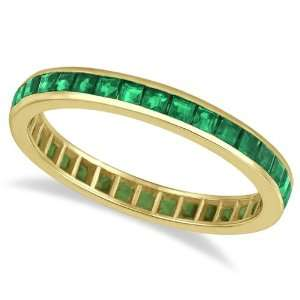Princess Cut Emerald Eternity Ring Band 14k Yellow Gold (1