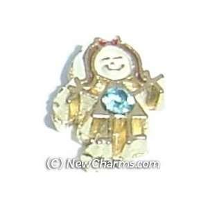 Girl Birthstone March Floating Locket Charm Jewelry