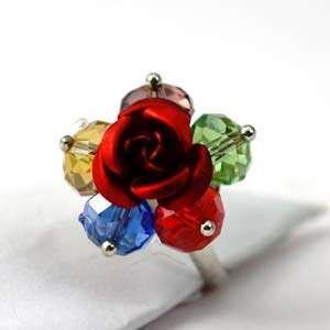 Flower Multicolor Crystal Beads Adjustable Ring Fashion Jewelry