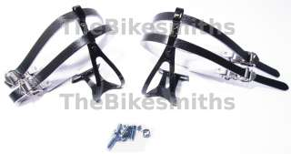 ROAD BIKE DOUBLE TOE CLIPS & STRAPS BLACK MD TRACK NEW