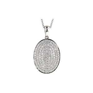 Ct Diamond Pave Set Oval Disc Pendant. All 14kt White Gold Weighs