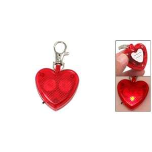 Red Love Heart Lobster Clasp Plastic Flash Keychain
