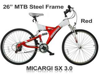 SX 3.0 Mens Red Steel Frame MTB Off Road Mountain Bike Bicycle