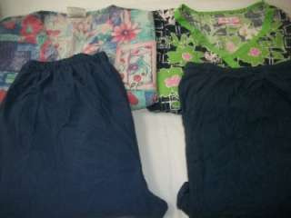 Medical Dental Vet Scrubs Lot 6 FLORAL PATTERN Outfits Sets Size