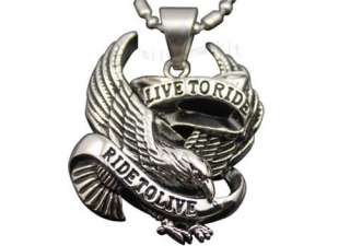 Motorcycle Biker Eagle Hawk LIVE TO RIDE Stainless Steel Pendant