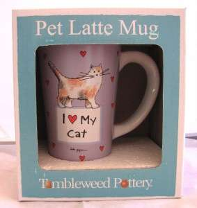 NEW Tumbleweed Pottery I LOVE MY CAT 15oz Latte Mug