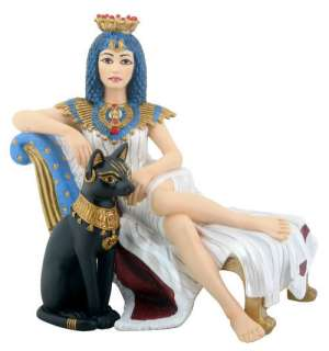 Egyptian Cleopatra with Bastet Figurine Statue Ancient Egypt Queen