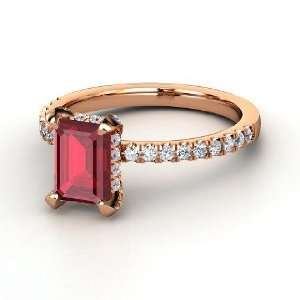 Reese Ring, Emerald Cut Ruby 14K Rose Gold Ring with