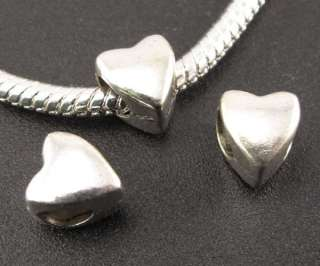 Wholesale 75 x Tibetan Silver Heart Spacer Beads Fit Charm Bracelet