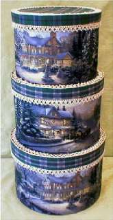 Fabric Covered Hat Boxes,Thomas Kincaid Christmas Fabric, XLG.