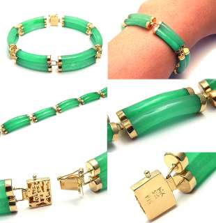VINTAGE RETRO ERA GREEN JADE JADEITE 14K SOLID GOLD LINK CHAIN