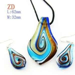 Murano Lampwork Glass Blue Leaf Bead Necklace Pendant Earrings