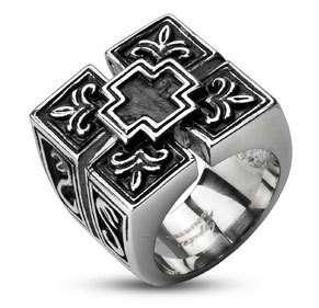 Stainless Steel Ultra Wide & Ornate Black Cross Ring