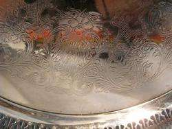 Wm ROGERS fancy SILVER Serving Tray    SPRING FLOWER